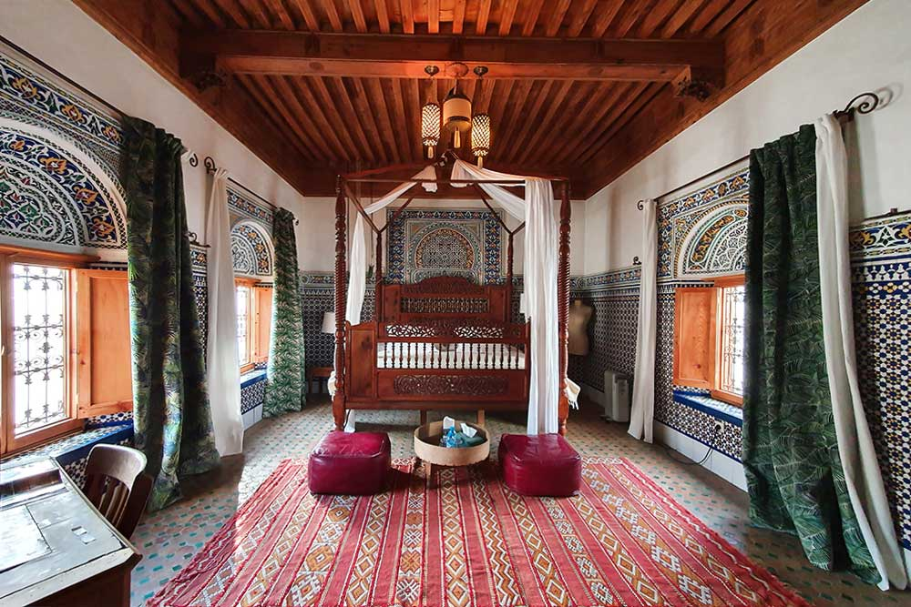 Riad-a-Rabat-camera-da-letto-tipica-marocchina